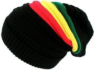 725d5f7113 CRAZY LIZARD - Rasta Bonnet Chapeau 100% acrylique avec Rasta coleurs  rayures rasta