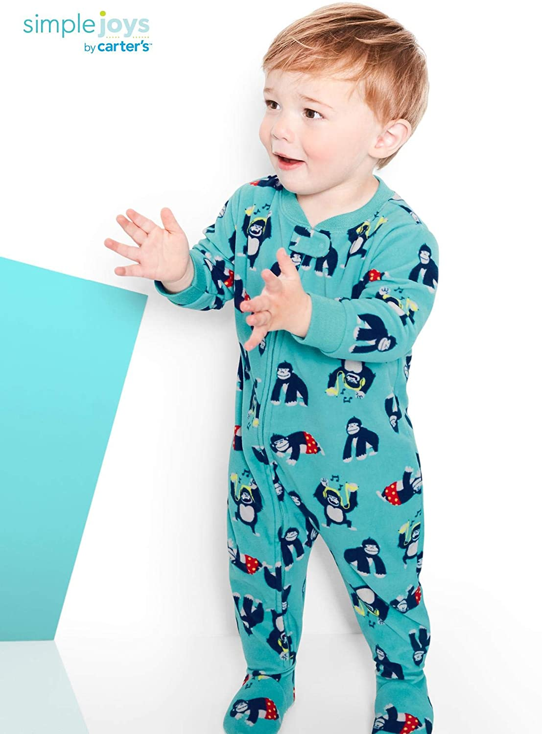 3er-Pack Simple Joys by Carters Baby-Jungen 3-Pack Loose Fit Flame Resistant Fleece Footed Pajamas