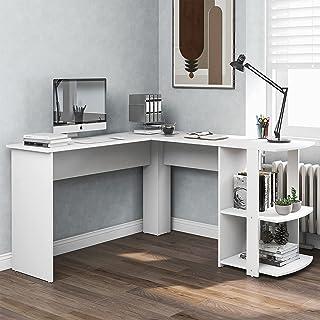 Xin Hai Yuan Bureau d'angle, Table D'ordinateur en Forme De L en Panneaux De Particules, Table De Bureau avec 2 Étagères, ...