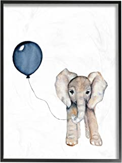 The Stupell Home Décor Collection Baby Elephant with Blue Balloon Framed Giclee Texturized Art, 11 x 14