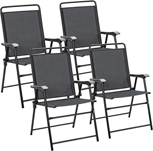 Giantex Set of 4 Folding Patio Chairs, Patio Dining Chairs, Sling Back Chairs for Garden, Backyard, Lawn, No Assembly (4)