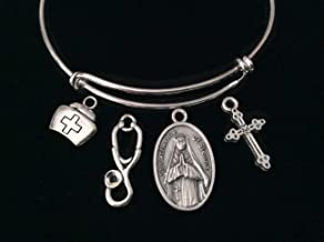 Saint Catherine of Sienna Expandable Charm Bracelet Silver Adjustable Wire Bangle Catholic Medal Gift Meaningful Inspirational Patron Saint of Nurses, Firefighters, Miscarriages, The Sick