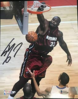 Shaquille O'Neal Autographed Signed Autographed Signed Miami Heat 16x20 Photo Beckett Witness Bas