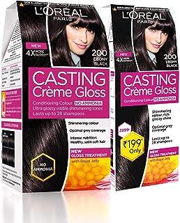 L'Oreal Paris Casting Crème Gloss Hair Colour, 200 Ebony Black, (159.5ml+45ml) (Pack Of 2), Black, 204 g (Pack of 2)