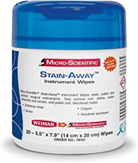 Micro-Scientific IW20 Stain-Away Instrument Wipes to Clean, Polish, and Protect Surgical Instruments