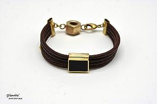 Bracciale industrial in cuoi con dado in ottone e onice nero - braccialetto con fili in cuoio #235