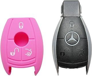1x Pinke Autoschlüsselhülle   Mercedes Benz   3 Tasten   Silikonhülle   Fernbedienung   Schlüsselhülle   Key Cover   Schutzüberzug   Klappschlüssel   Gehäuse   Tasche   Silikoncover