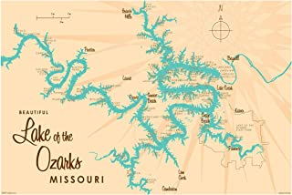 Lake of The Ozarks Missouri Vintage-Style Map Art Print Poster by Lakebound (24