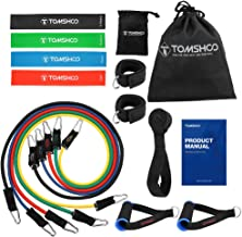TOMSHOO 17Pcs resistance Bands Set Workout Fintess Exercise Rehab Bands Loop Bands Tube Bands Door anchor ankle Straps Cushioned Handles with Carry Bags for Home Gym Travel