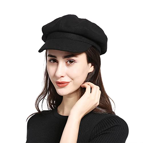 32bd07260c1 JOOWEN Melton Wool newsboy Gatsby IVY Baker Boy Cap Visor Beret Cabbie Hat  For Ladies