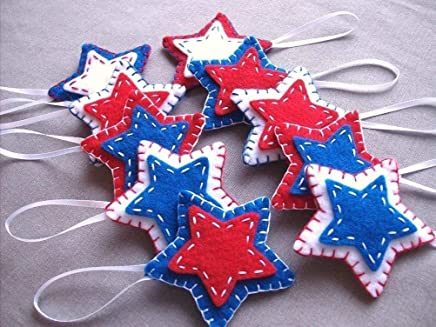 10 patriotic star ornaments, red white blue star decorations, 4th July Independence day American flag, USA