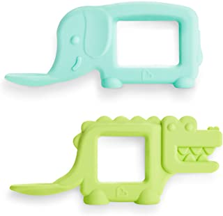Munchkin The Baby Toon Silicone Teether Spoon, 2 Pack, Elephant/Alligator (As Seen On Shark Tank)