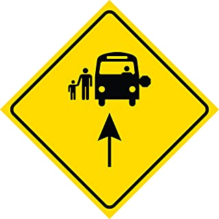 Yellow Diamond Road Notice Bus Stop Ahead Sign Commercial Plastic Square Sign - Single Sign, 12x12
