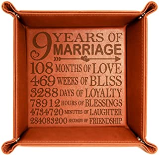Sponsored Ad - KATE POSH 9 Years of Marriage Engraved Leather Catchall Valet Tray, Our 9th Wedding Anniversary, 9 Years as...