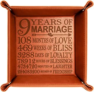 Kate Posh 9 Years of Marriage Engraved Leather Catchall Valet Tray, Our 9th Wedding Anniversary, 9 Years as Husband & Wife, Gifts for Her, for Him, for Couples (Rawhide)