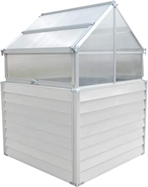 Hanover HANGHGBMN-2WHT 5.5-Ft. Elevated Compact Greenhouse, Dual Garden Bed, White