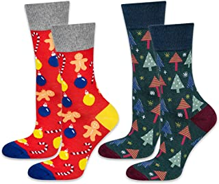 soxo, Calcetines Navideños de Colores para Hombre 2 Pares | talla 40-45 EU | Set de Calcetines con Dibujos Originales | Divertido Regalo de Algodón | Calcetines Calientes de Navidad y Invierno