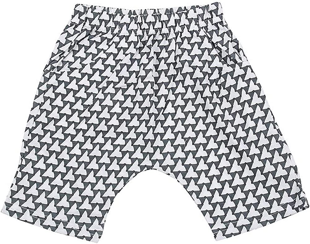 TOTO HEROS Boys Triangle Pants Shorts Pull-on Closure Baggy Cool Summer Pockets (Grey, XL)