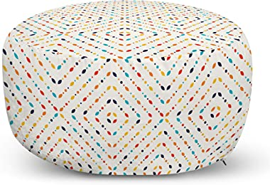 Ambesonne Abstract Ottoman Pouf, Continuing Illustration of Colorful Small Spots, Decorative Soft Foot Rest with Removable Co