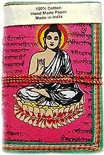 Rastogi Handicrafts Handmade Paper Lokta Paper Eco Friendly Paper Diary Pink Buddha The God of Peace - Size 6 X 4 Inch