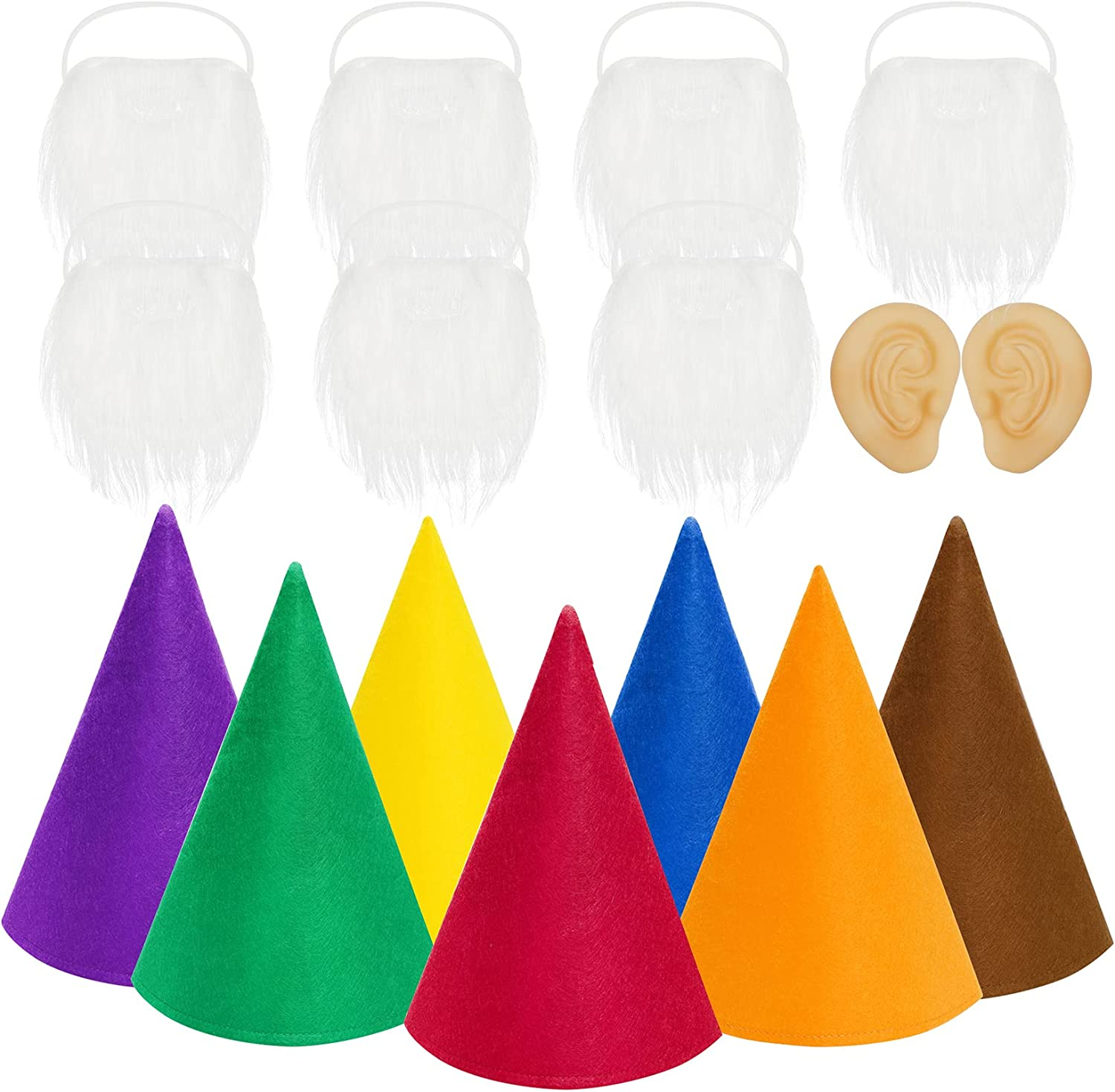 16 Packs Gnome Costume Sets, 7 Pcs Felt Cone Dwarf Hats, 7 Pcs White Fake Beard and 2 Pcs Fake Ears for Halloween Christmas Party Cosplay