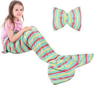 Catalonia Kids Mermaid Tail Blanket Pillow Cushion,Super Soft Coral Plush Fleece Mermaids..