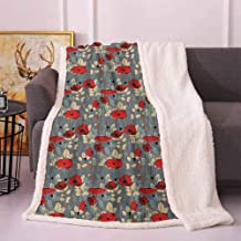 Poppy Winter Blanket Abstraction of a Growing Floral Garden Leaves Botanical Modern Nature Display Dog Blankets Grey Red Beige 50