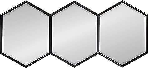 Kate and Laurel Royce Modern Hexagon Trio Accent Wall Mirror, 30x14 Black