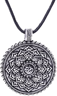 Fashion Viking Bauhinia Flower of Life Pendant Indian Yoga Amulet Necklace Jewelry (Antique Silver)