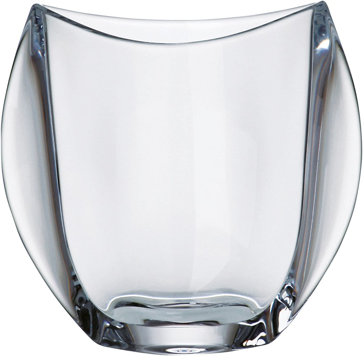 Barski - European Glass - Lead Free Crystalline - Oval Vase - 7   Height - Made in Europe