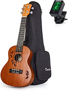 Concert Ukulele Deluxe Top Solid Spruce Ukelele 23 Inch 18 Frets Uke Acoustic Hawaiian Guitar Woodcut Leaf Pattern with Ba...