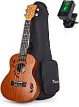 Concert Ukulele Deluxe Top Solid Spruce Ukelele 23 Inch 18 Frets Uke Acoustic Hawaiian Guitar Woodcut Leaf Pattern with Bag Tuner From Kmise