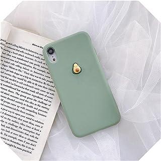 かわいい3Dフルーツピーチアボカドマカロンソフトシリコーン電話ケースfor iphone X XR XS 12 11 PRO MAX 6 7 8 PLUS用サムスン用S10 9カバー -Avocado-for S9 plus