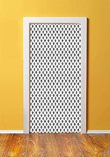 Fleur De Lis 3D Door Sticker Wall Decals Mural Wallpaper,Royal Lily Pattern Antique Style Medieval Symbol Vintage Monochrome Ornament,DIY Art Home Decor Poster Decoration 30.3x78.6957,Black White