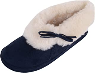 ABSOLUTE FOOTWEAR Womens Warm Slip On Slippers/Indoor Shoes with Thick Faux Fur Inner