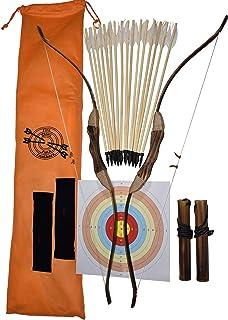 FSFF زره چوبی و پرتاب برای کودکان و نوجوانان 2-Bows 2-Four Arrow quivers 16-Arrows w / Feathers 10-Large targets and 2 armguards مجموعه ای از تیراندازی با کمان بزرگ برای پسر جوان / دختر مبتدی تیراندازی با کمان برای کودکان و نوجوانان