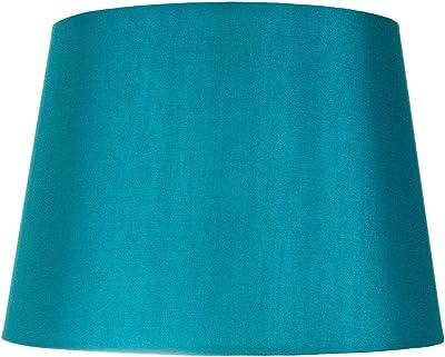 Abat-jour traditionnel forme tambour de taille moyenne 10 po avec un /él/égant tissu simili soie noir par Happy Homewares