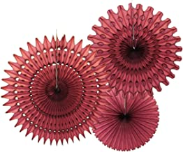 product image for Set of 3 Tissue Paper Fans, Maroon (13-21 Inch)