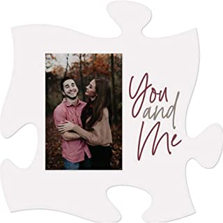 P. Graham Dunn You and Me Wedding White 6 x 6 Wood Mini Puzzle Piece Wall Photo Frame