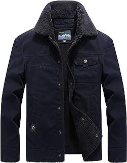 Vcansion Men's Winter Cotton Fleece Windproof Jacket Wool Outerwear Classic Jacket Coats