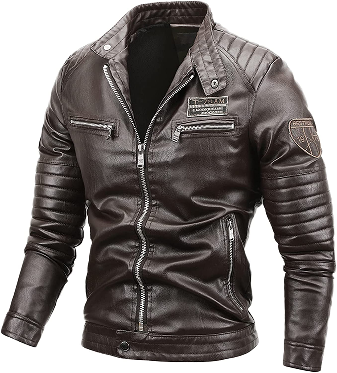 Men's Vintage Trend Straight Jackets Faux Zipper Stand Collar Leather Outwear