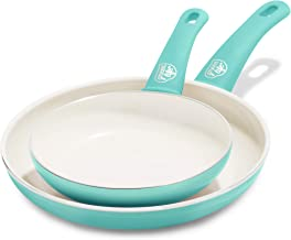 """GreenLife Soft Grip Ceramic Non-Stick 7"""" and 10"""" Open Frypan Set, Turquoise (CW000529-002)"""