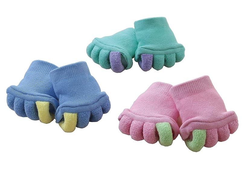 消防士どこ手首足指をストレッチ ふわふわ足指カバー 3色組