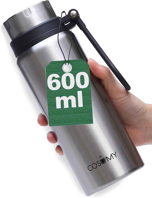 Termo de Acero inoxidable - 600ml - A Prueba de Fugas - Botella de Doble Pared - Para Café, Bebidas, Liquidos