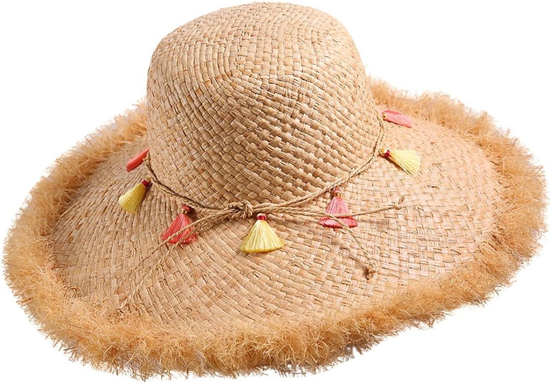 HAIPENG Cap Straw Hat Wide Brimmed Sun Cap Sunshade Summer Fashion Beach Female Casual Beige Sun Hat