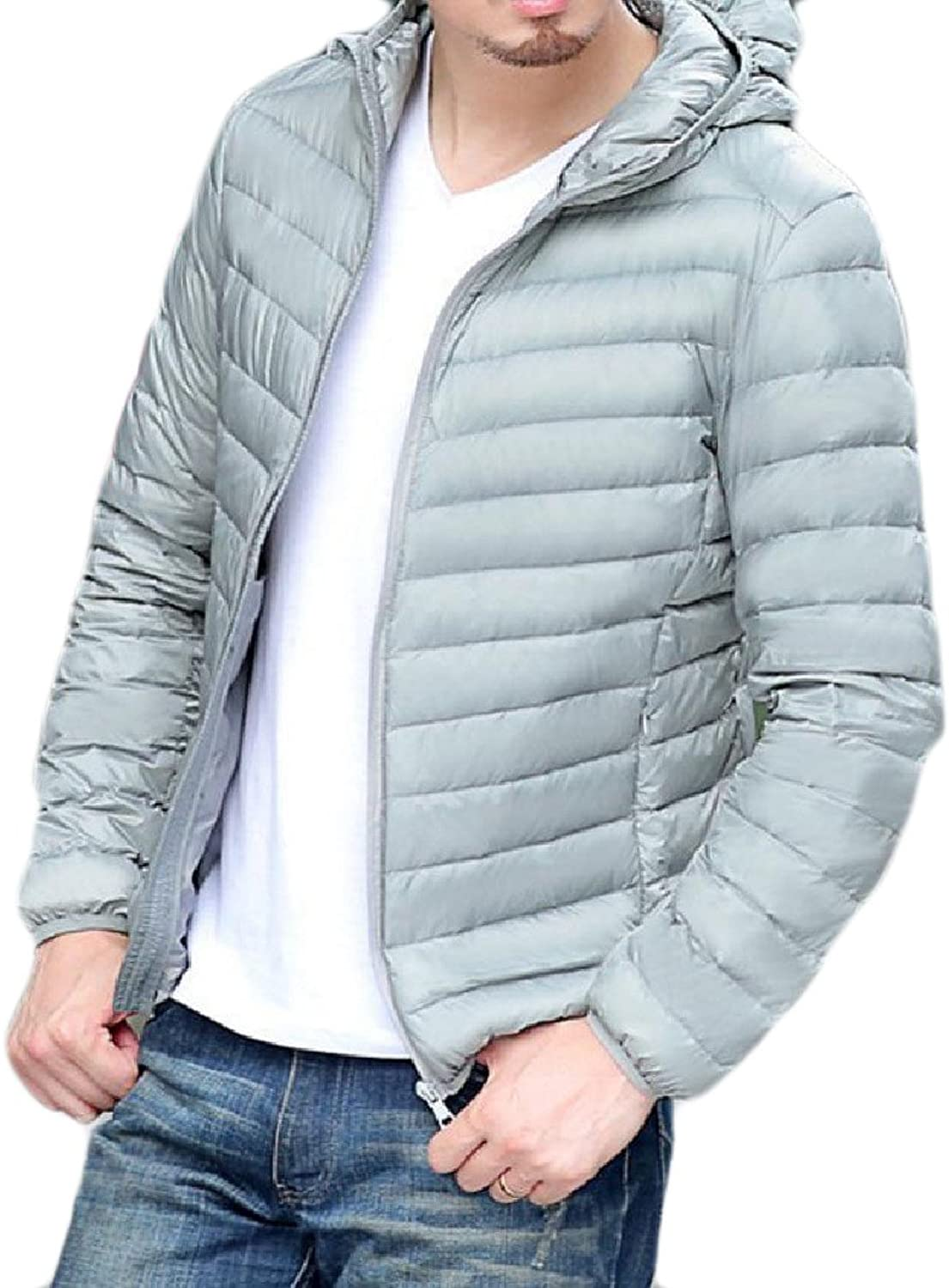Coolred-Men Solid Plus Size Thin Hooded Luxury Down Overcoat Jackets