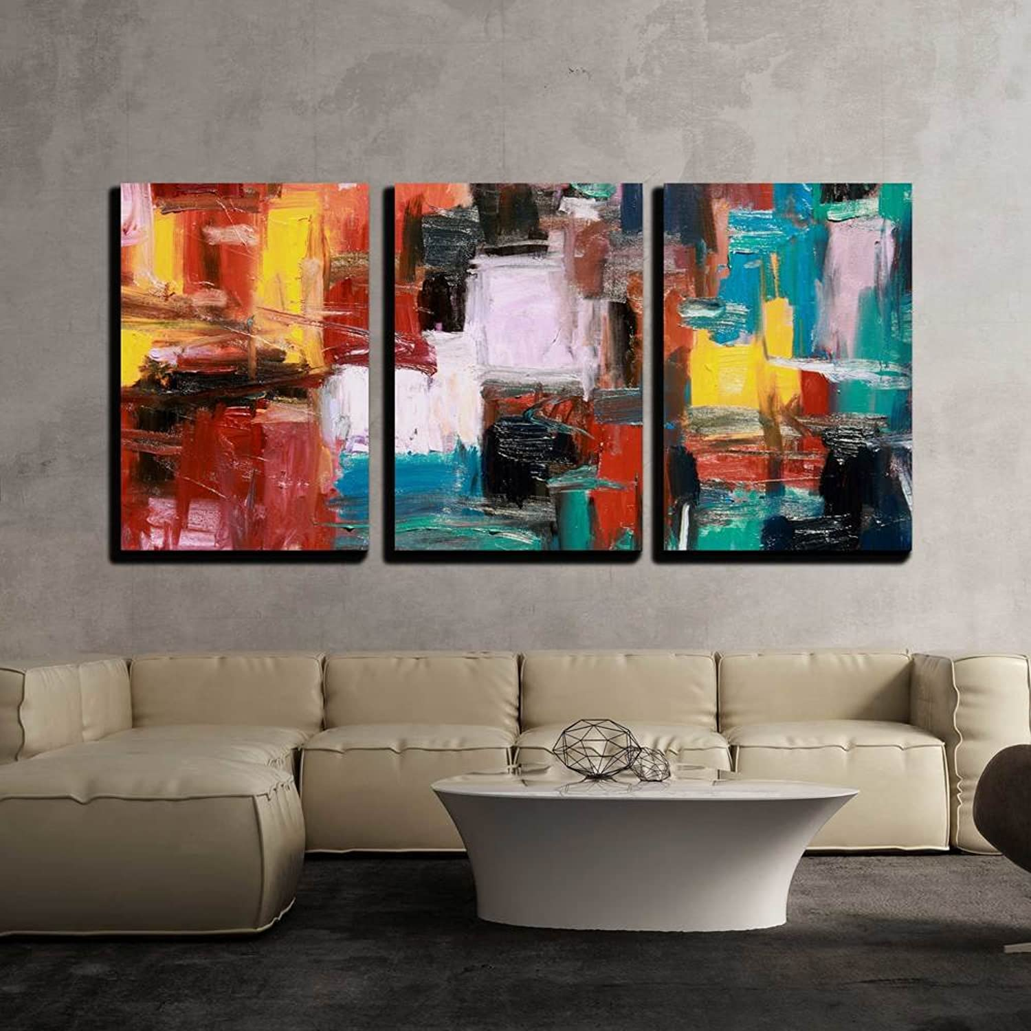 Wall26 - 3 Piece Canvas Wall Art - Abstract Painting - Modern Home Decor Stretched and Framed Ready to Hang - 24 x36 x3 Panels