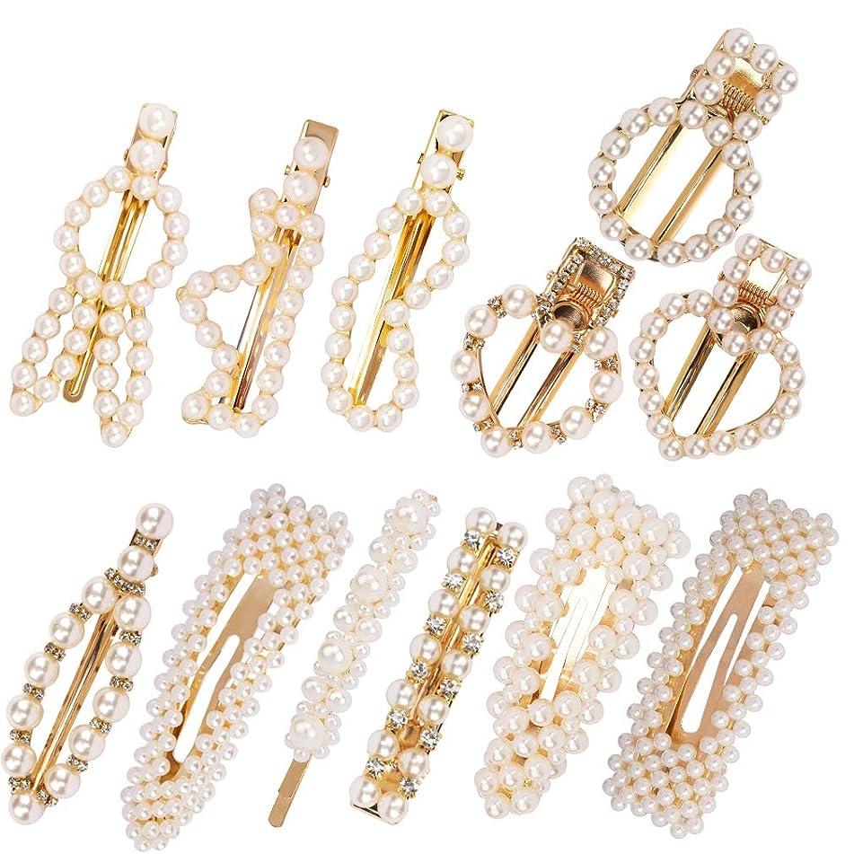 TOBATOBA 12 pcs Pearl Hair Clip for Women, Artificial Pearl Hair Pins Headwear Barrette Decorative Hair Accessories for Wedding Bridal, Daily Wear