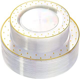 WDF 102pcs Gold Plastic Plates -Clear with Dot Design Crystal Disposable Wedding Party Plastic Plates include 51 Plastic Dinner Plates 10.25inch,51 Salad/Dessert Plates 7.5inch