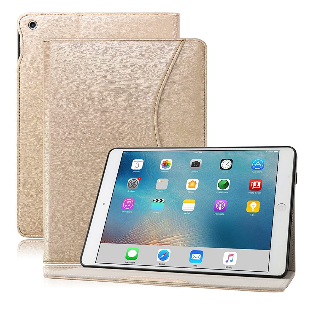 iPad 9.7 Case for 2018 iPad 6th Generation, 2017 iPad 5th Generation, iPad Pro 9.7, iPad Air 2, iPad Air, PU Leather, Ultra Slim Lightweight Stand, Smart Cover for iPad 9.7 Inch (Gold)